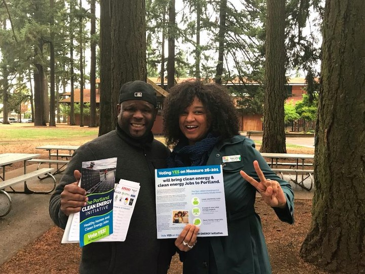 Nakisha Nathan and Dupree West for the Portland Clean Energy Initiative.