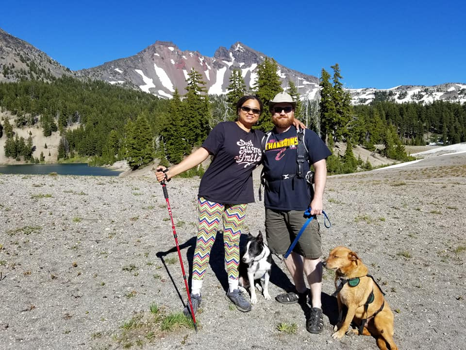 Bark Executive Director, Nakisha Nathan with her family and Broken Top in the Deschutes National Forest.